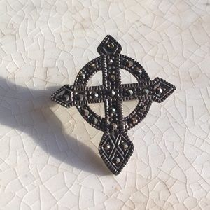 Vintage 925 Sterling and Marcasite Cross